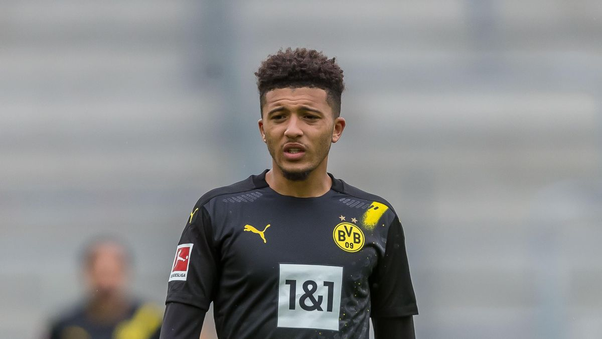 Jadon Sancho of Borussia Dortmund Looks on during the 1. Bundesliga match between FC Augsburg and Borussia Dortmund at WWK Arena on September 26, 2020 in Augsburg, Germany.