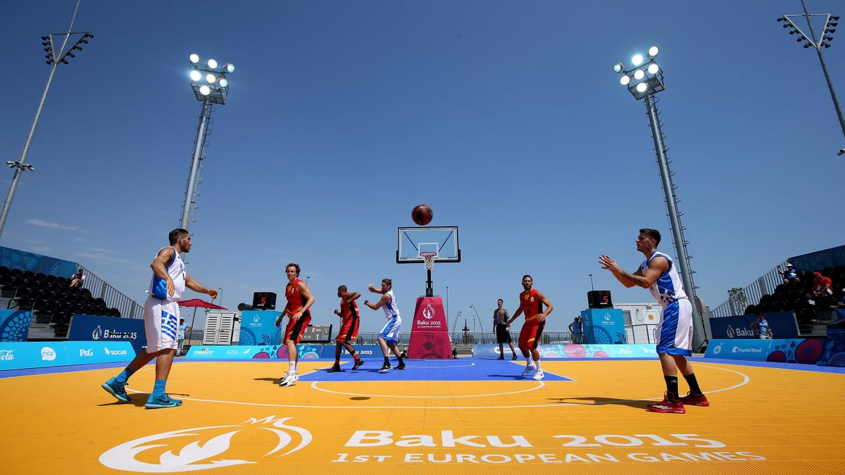 A general view of the action during the Men's 3x3 Basketball eighth Finals match between Greece and Belgium on day thirteen of the Baku 2015 European Games at the Basketball Arena on June 25, 2015 in Baku, Azerbaijan