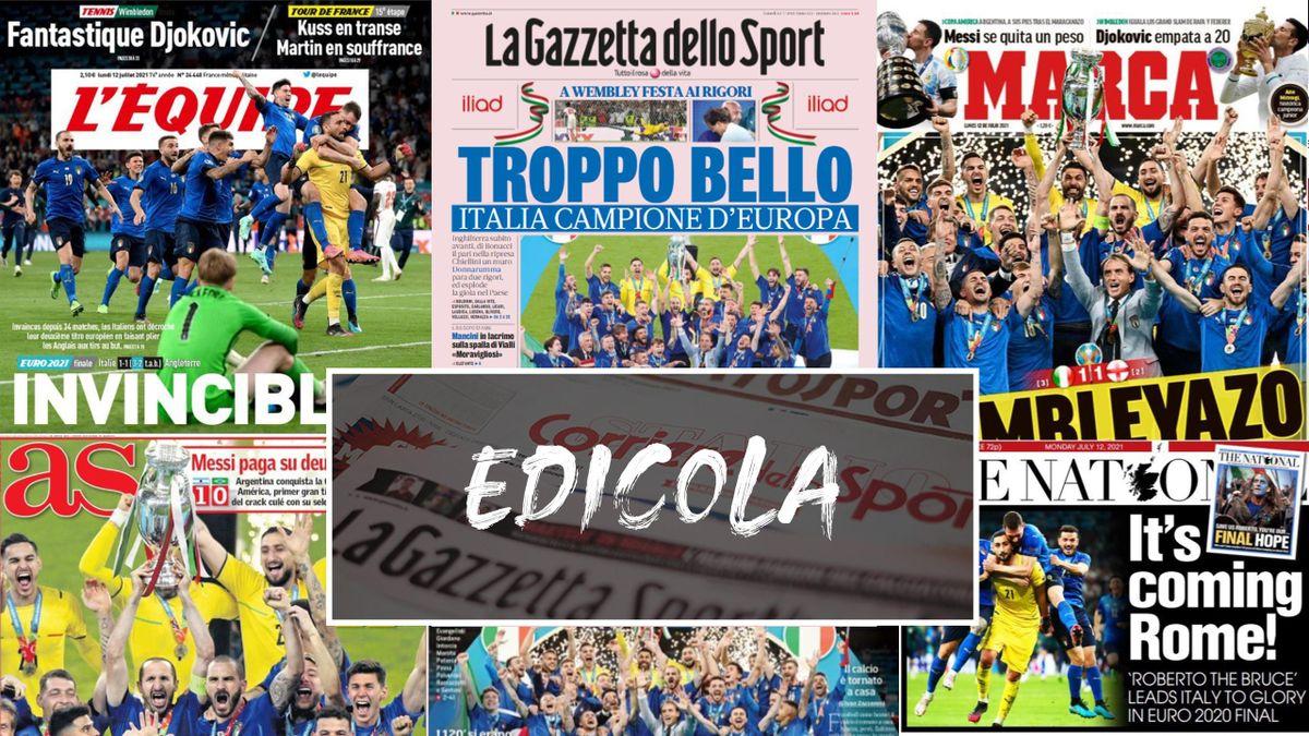 Le prime pagine dei quotidiani sportivi europei dopo il trionfo dell'Italia