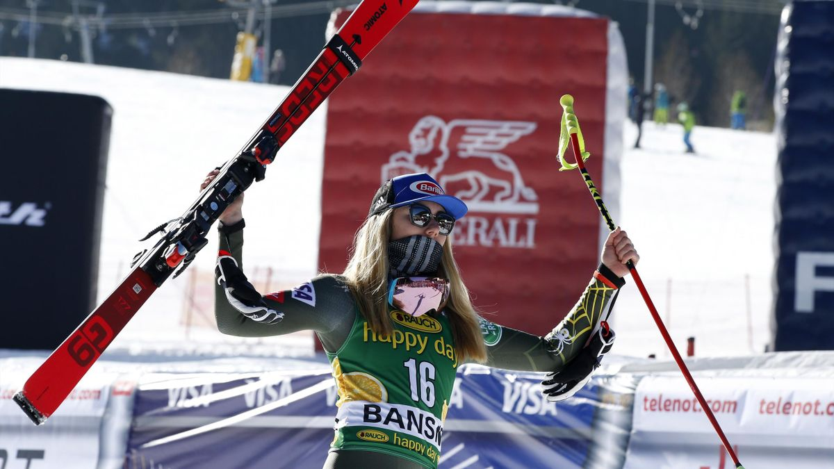 Mikaela Shiffrin of USA takes 1st place during the Audi FIS Alpine Ski World Cup Women's Downhill on January 24, 2020 in Bansko Bulgaria