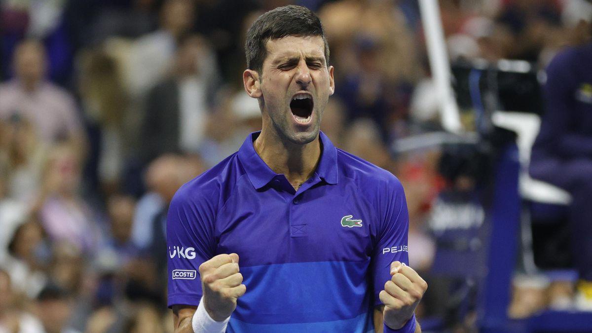 Novak Djokovic savoure sa victoire face à Alexander Zverev en demi-finale de l'US Open 2021