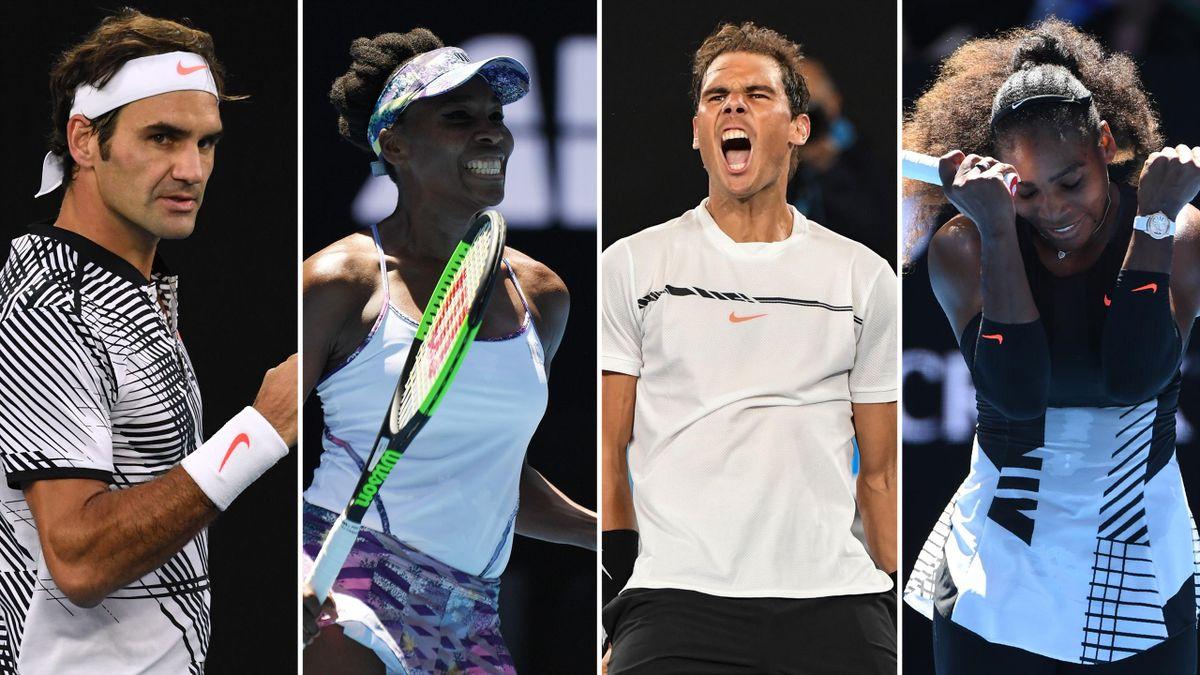 Roger Federer, Venus Williams, Rafael Nadal, Serena Williams - Australian Open 2017
