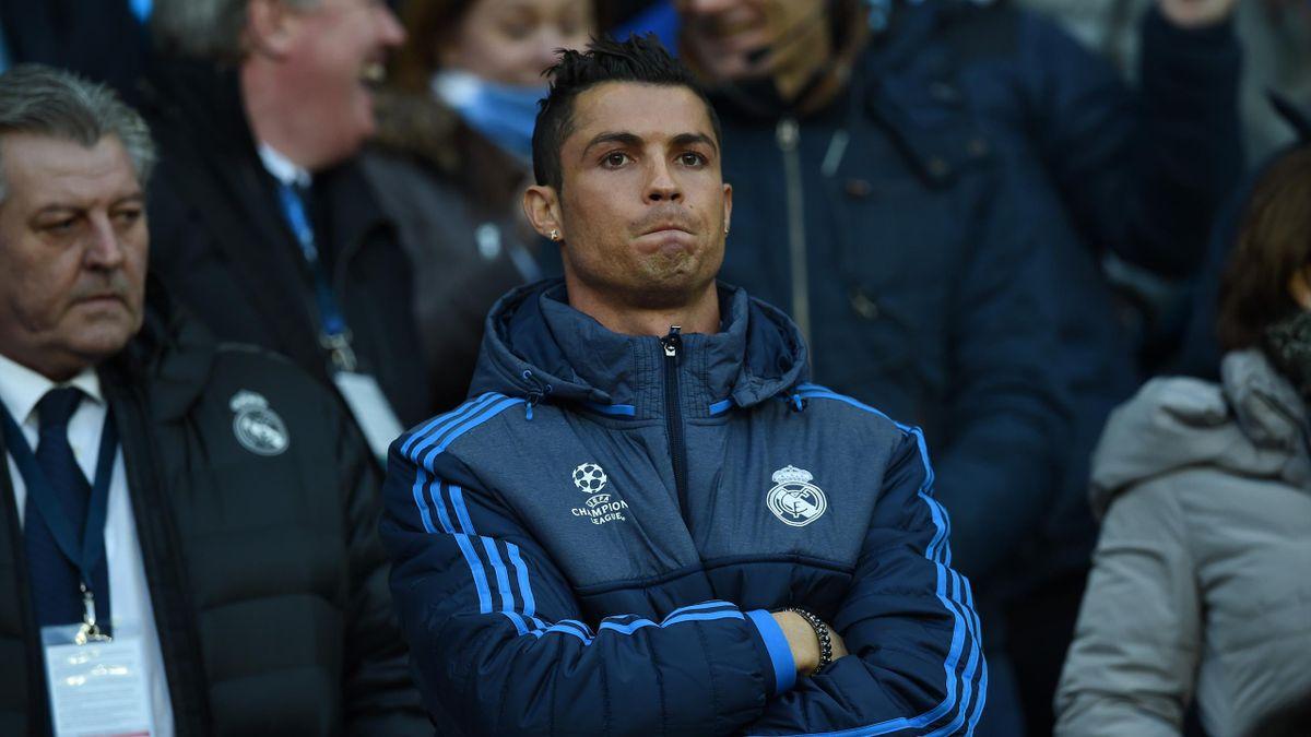 Cristiano Ronaldo, on the bench at Manchester City v Real Madrid