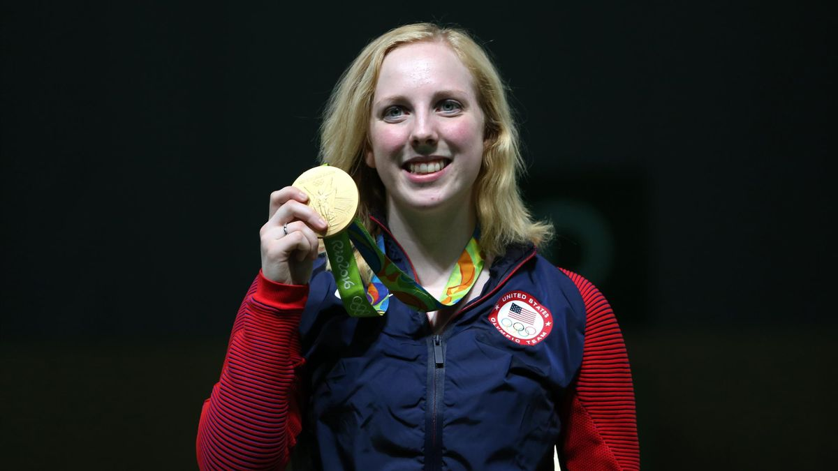 Ginny Thrasher of USA with the 10m air rifle gold - the first gold of Rio 2016