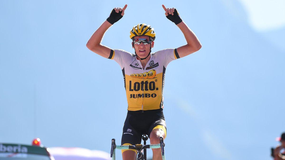 Cycling: 71st Tour of Spain 2016 / Stage 14 Arrival / Robert GESINK (NED)/ Celebration / Urdax Dantxarinea - Col Aubisque Gourette 1710m (196,1km)/ La Vuelta / (Photo by Tim de Waele/Corbis via Getty Images)