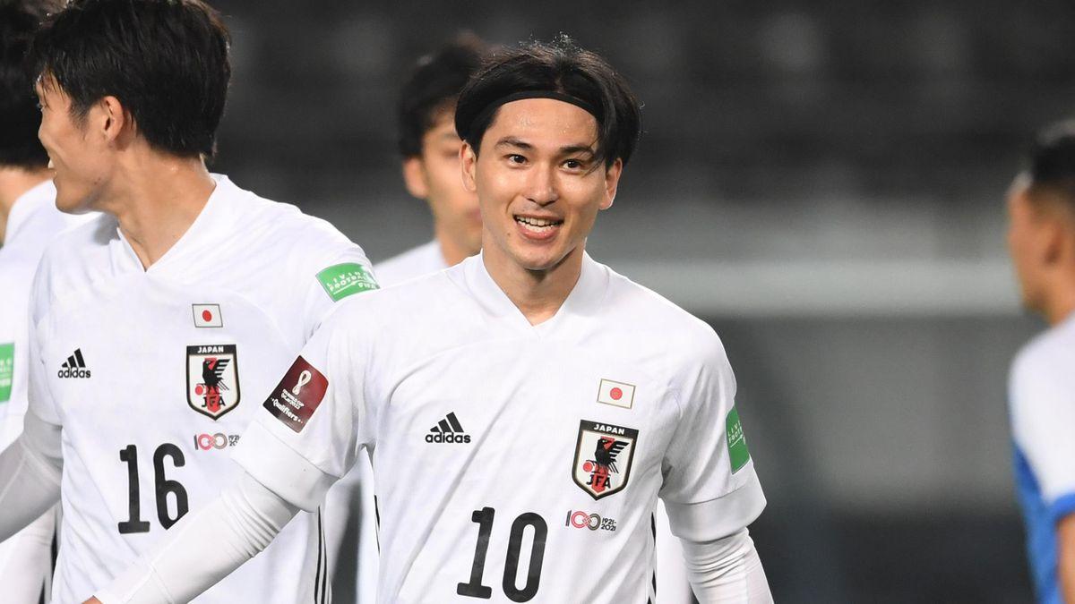 Takumi Minamino scored in Japan's 14-0 win over Mongolia