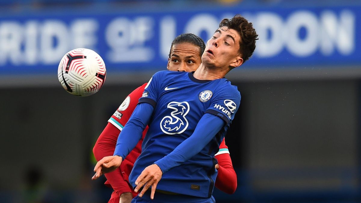 Virgil van Dijk of Liverpool with Kai Havertz of Chelsea during the Premier League match between Chelsea and Liverpool at Stamford Bridge on September 20, 2020 in London, England.