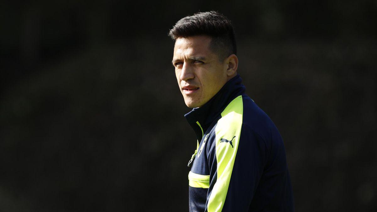 Arsenal forward Alexis Sanchez on the training ground