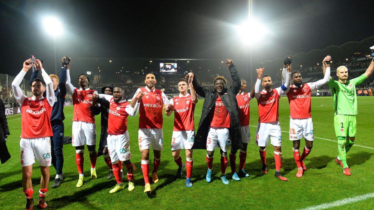 Reims fête sa victoire face à Angers en Ligue 1, le 1er février 2020