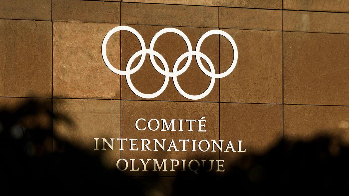 Le logo du CIO au siège de Lausanne, en 2018