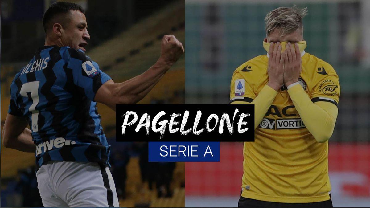 L'esultanza di Alexis Sanchez (Inter), la disperazione di Stryger Larsen (Udinese): le due facce della 25a giornata di Serie A, Getty Images