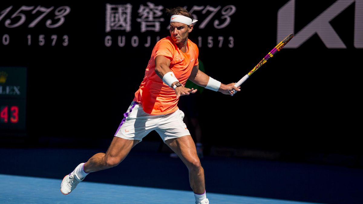 MELBOURNE, VIC - FEBRUARY 09: Rafael Nadal of Spain returns the ball during round 1 of the 2021 Australian Open on February 9 2020, at Melbourne Park in Melbourne, Australia. (Photo by Jason Heidrich/Icon Sportswire via Getty Images)