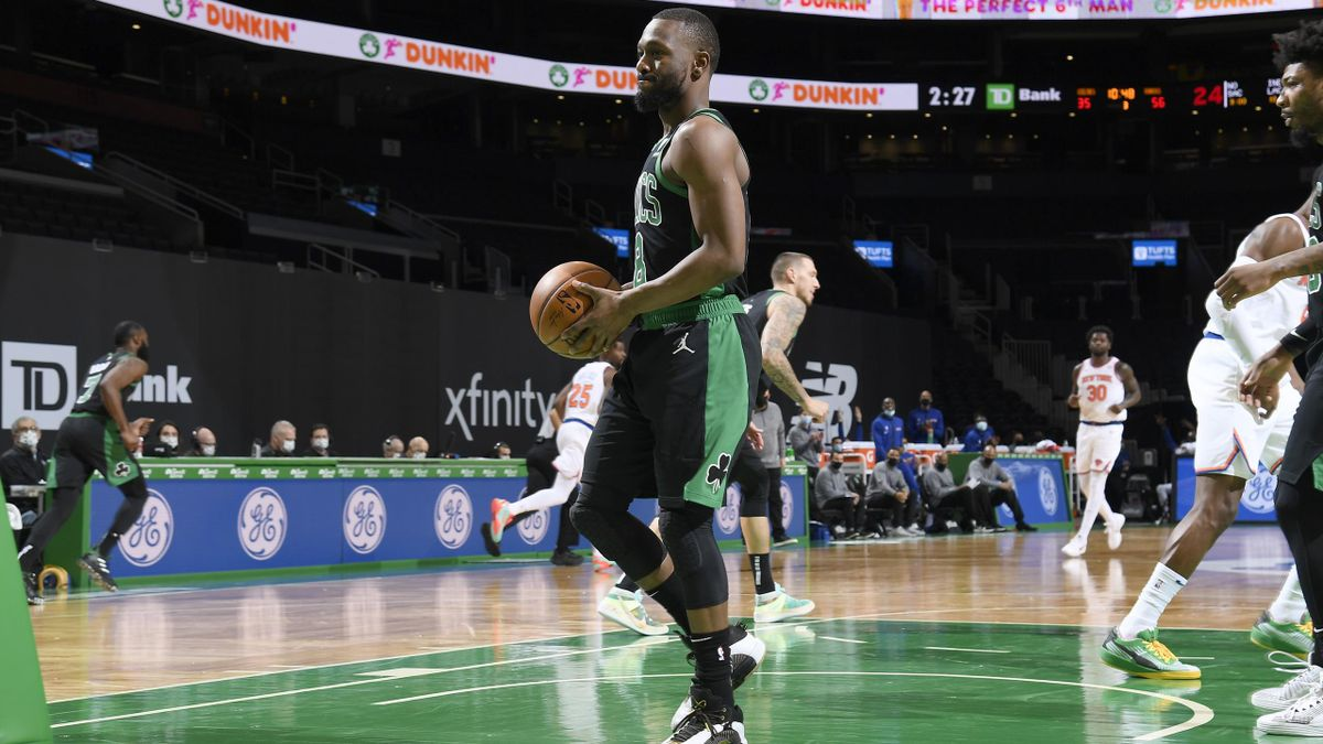 Kemba Walker #8 of the Boston Celtics looks on during the game against the New York Knicks on January 17, 2021 at the TD Garden in Boston