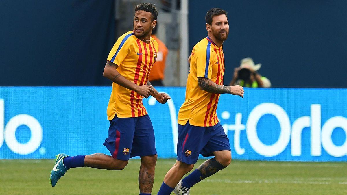 Neymar et Lionel Messi à l'entraînement avant Barcelone - Juventus lors de l'International Champions Cup