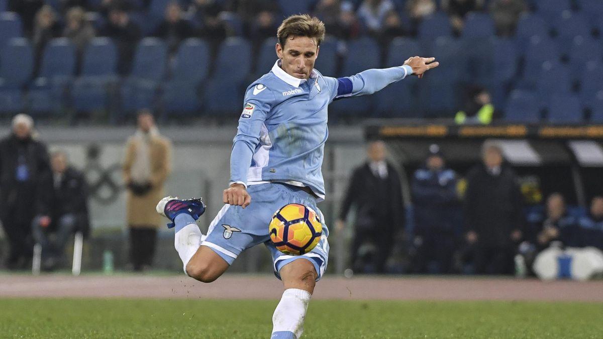 Lazio's midfielder from Argentina Lucas Biglia kicks the ball during the Italian Serie A football match Lazio vs Bologna on 28 January, 2017 at Rome's Olympic stadium