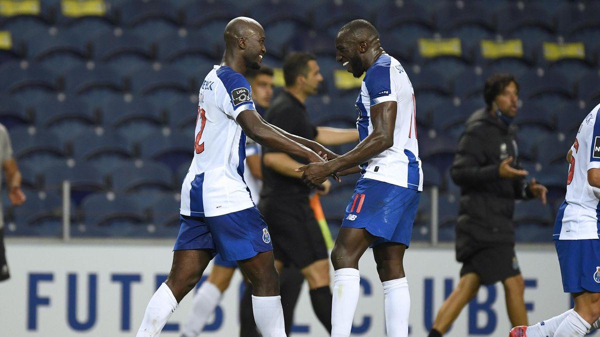 La joie de Danilo Pereira et Moussa Marega, buteurs pour le FC Porto lors du match du sacre contre le Sporting