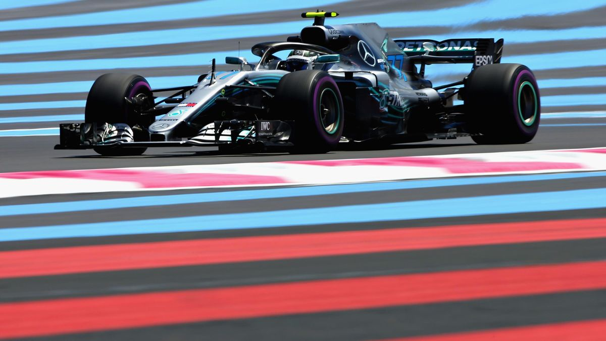 Valtteri Bottas driving the (77) Mercedes AMG Petronas F1 Team Mercedes WO9 on track during practice for the Formula One Grand Prix of France at Circuit Paul Ricard on June 22, 2018 in Le Castellet, France.