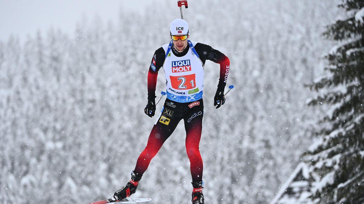 Sturla Holm Laegreid lors du relais mixte des Mondiaux de Pokljuka, le 10 février 2021
