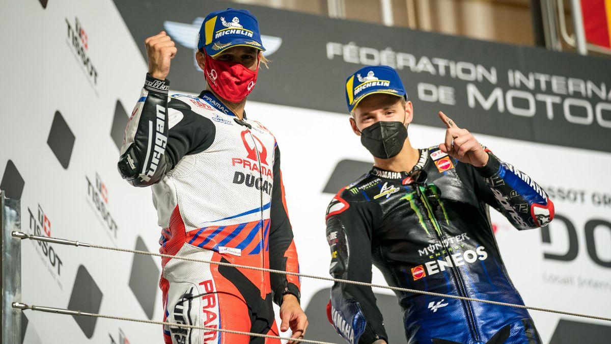 Johann Zarco (Ducati-Pramac) et Fabio Quartararo (Yamaha Factory) sur le podium du Grand Prix de Doha, le 4 avril 2021