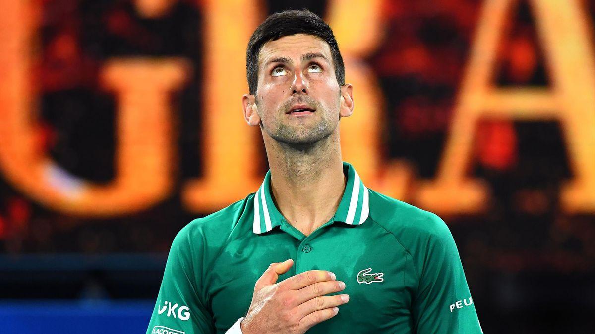 Serbia's Novak Djokovic celebrates after winning against Germany's Alexander Zverev