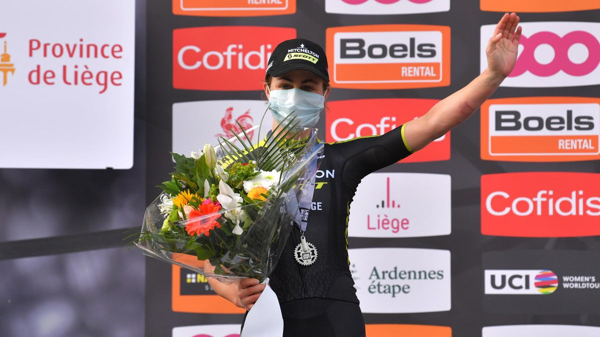 Grace Brown of Australia and Team Mitchelton - Scott / Celebration / Flowers / Silver medal / Mask / Covid safety measures / during the 4th Liege - Bastogne - Liege 2020, Women Elite a 135km race from Bastogne to Liege