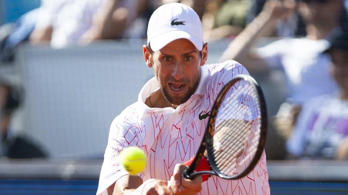 Novak Djokovic in action at the Adria Tour