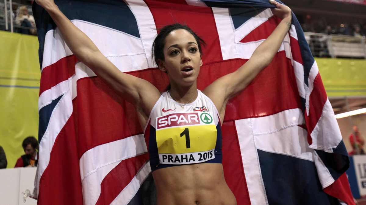 Katarina Johnson-Thompson of Britain celebrates after winning the women's penthatlon and the 800 metres event during the IAAF European Indoor Championships in Prague