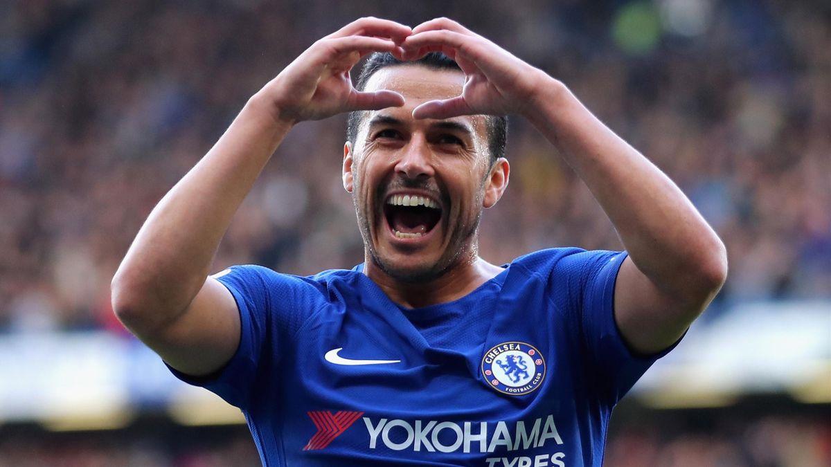 Chelsea's Pedro celebrates scoring a stunning goal against Watford
