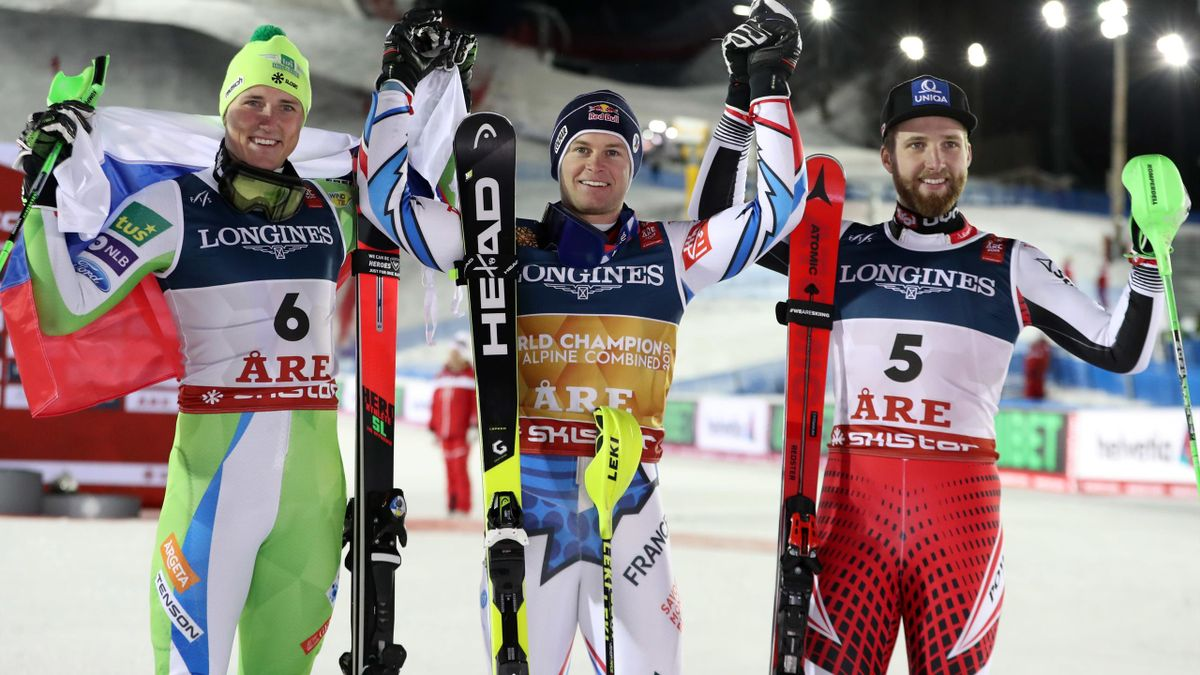 Alexis Pinturault of France wins the gold medal, Stefan Hadalin of Slovenia wins the silver medal, Marco Schwarz of Austria wins the bronze medal during the FIS World Ski Championships Men's Alpine Combined.