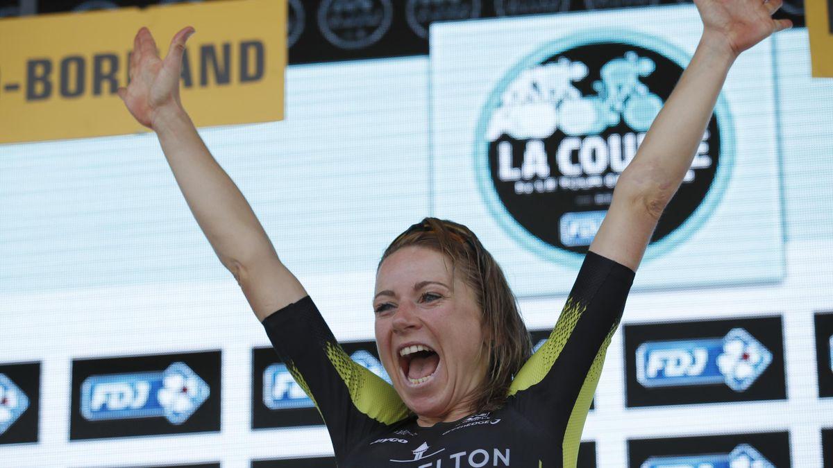 Annemiek van Vleuten celebrates her La Course triumph