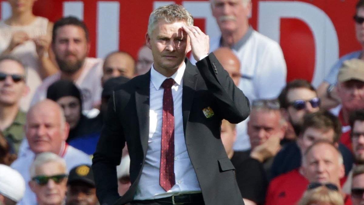 Ole Gunnar Solskjaer gestures on the touchline during the English Premier League football match between Manchester United and Crystal Palace at Old Trafford on August 24, 2019.