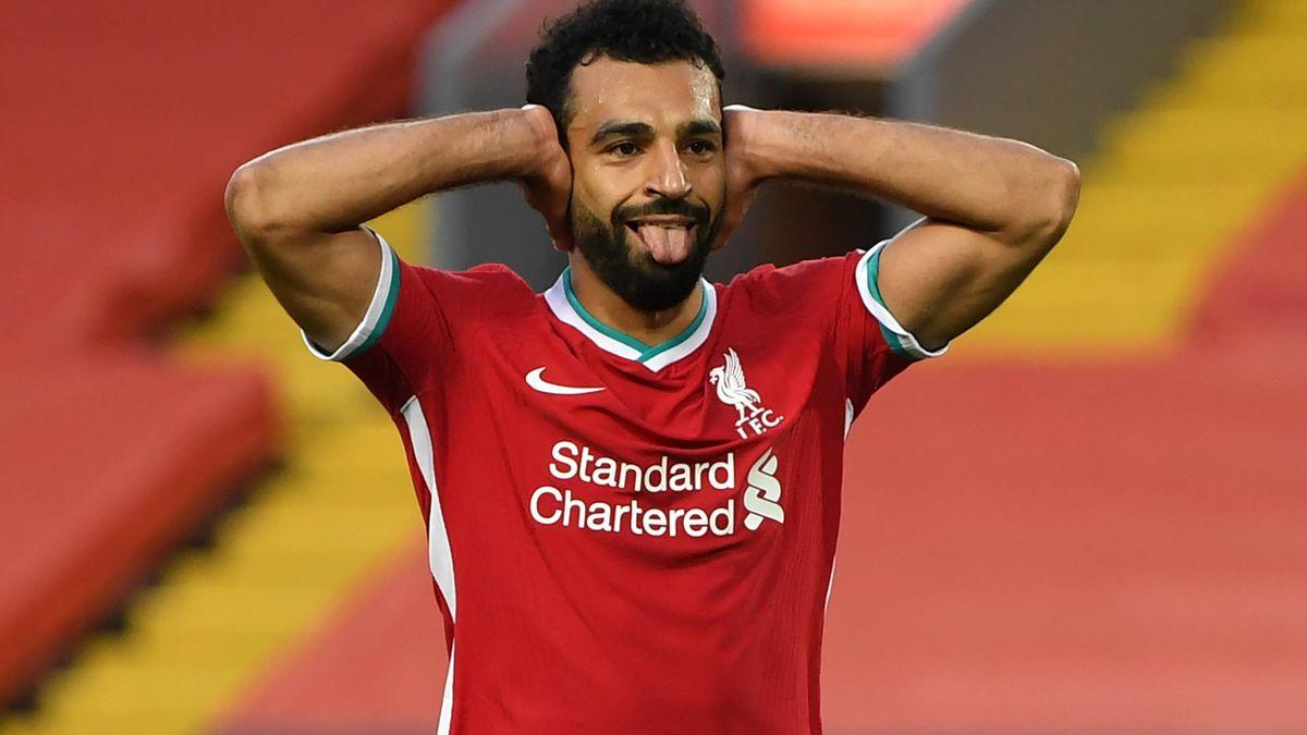 Mohamed Salah celebrates a goal for Liverpool