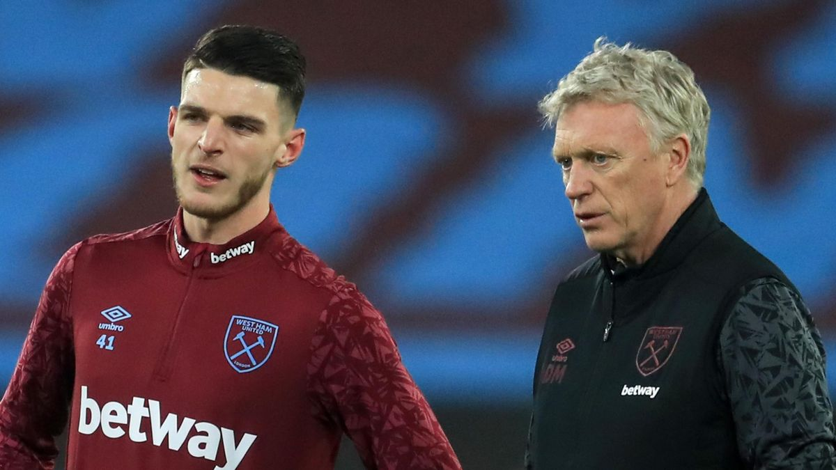 Declan Rice (L) and David Moyes (R)