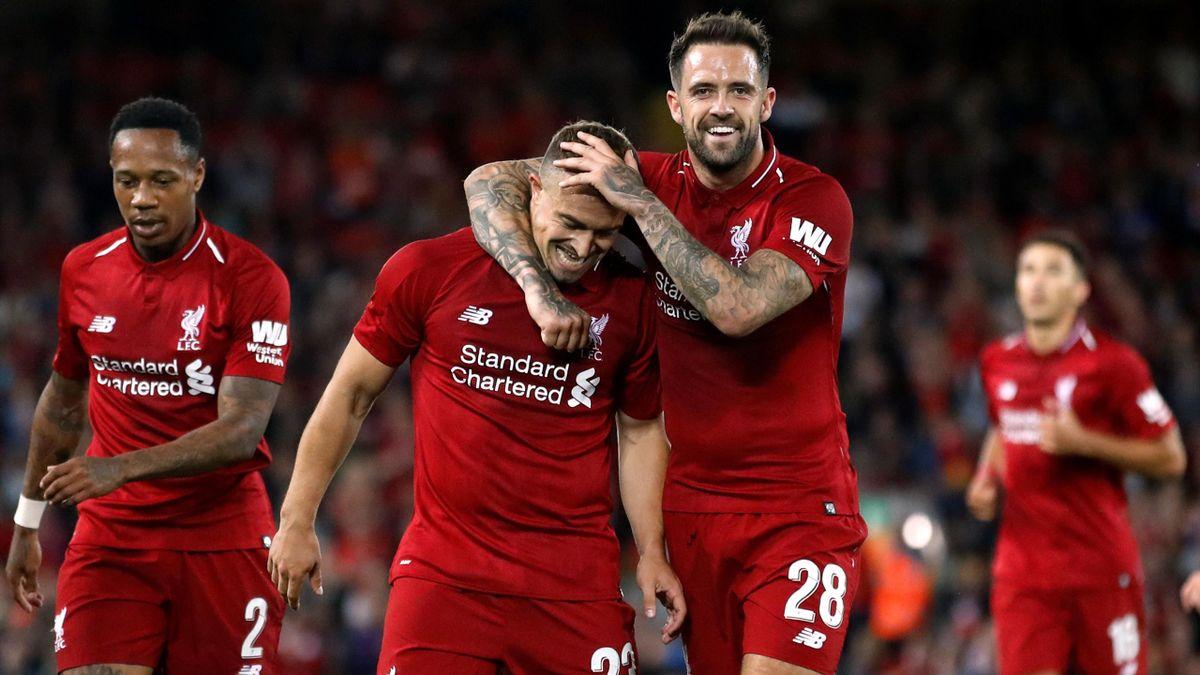 Xherdan Shaqiri and Danny Ings celebrates their third goal scored by Daniel Sturridge