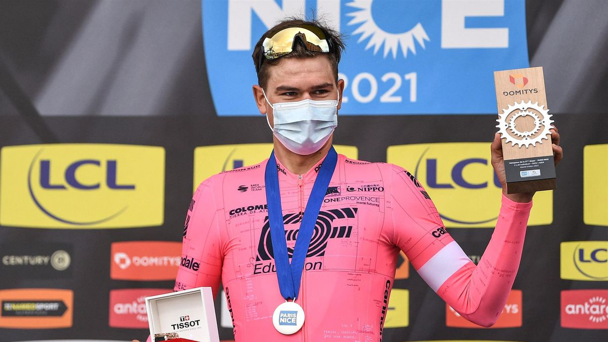 Team Education First rider Switzerland's Stefan Bissegger celebrates on the podium after winning the 3rd stage of the 79th Paris-Nice