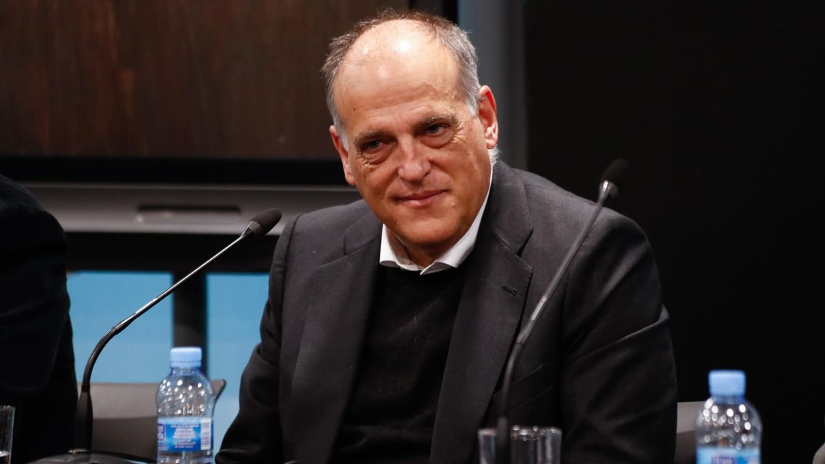 Javier Tebas, President of La Liga, talks during the presentation of a report on football consumption
