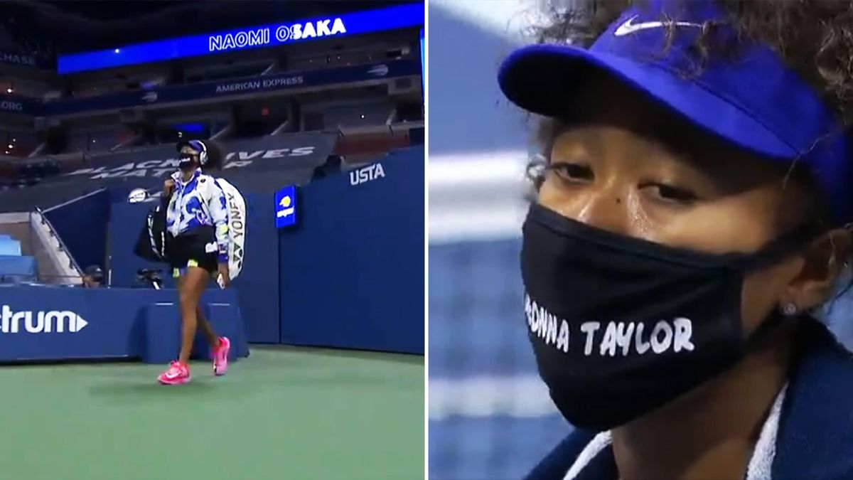 Naomi Osaka wearing her tribute masks on day one of the US Open