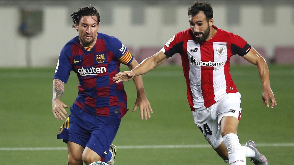 Lionel Messi (l.) vom FC Barcelona