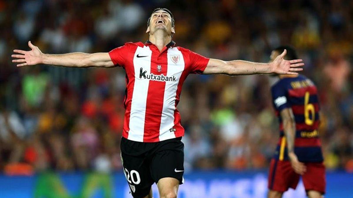 Aduriz celebrando el gol del empate en el FC Barcelona-Athletic Club