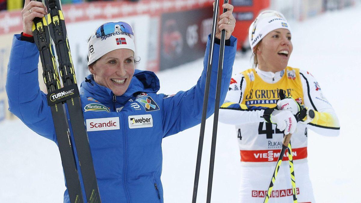 Marit Björgen (li.) und Charlotte Kalla (re.)