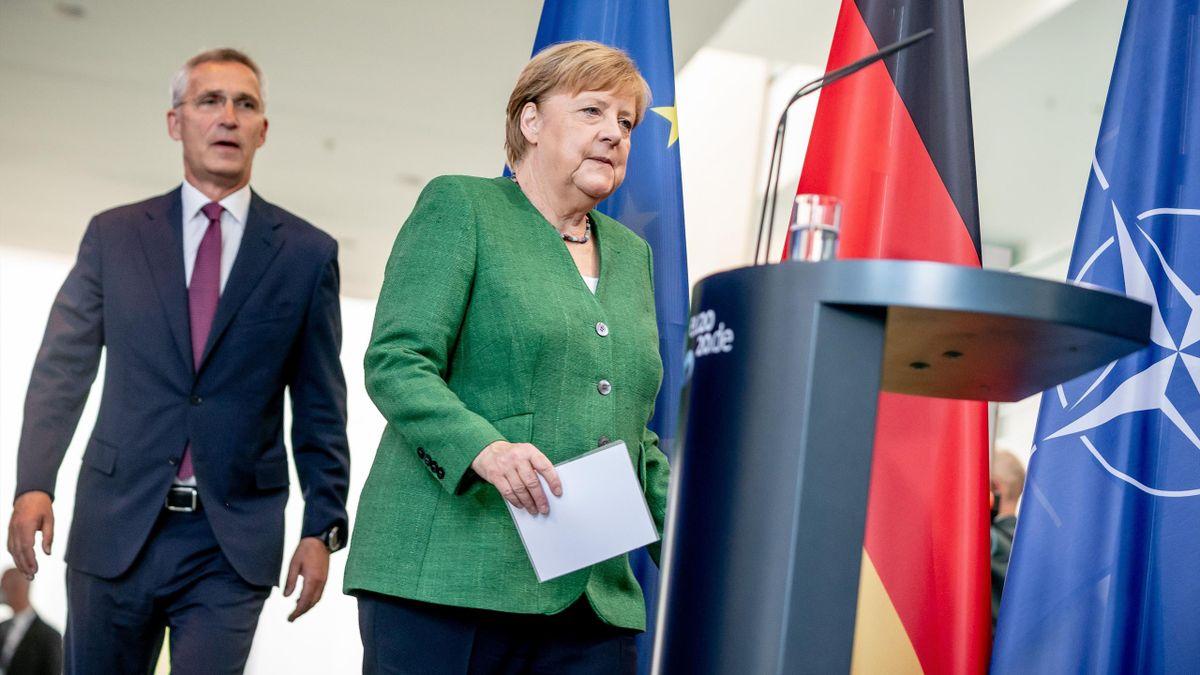 Angela Merkel, la chancelière allemande, lors d'une conférence de presse le 27 août 2020