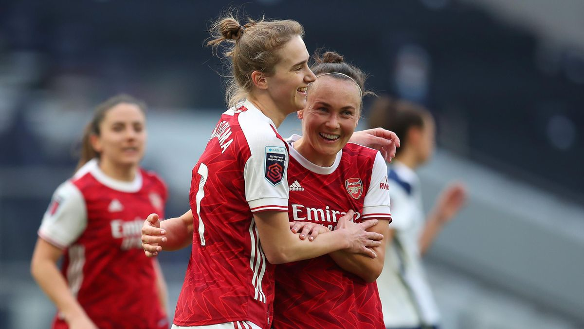 Vivianne Miedema of Arsenal celebrates with Caitlin Foord after scoring their team's second goal during the Barclays FA Women's Super League match between Tottenham Hotspur Women and Arsenal Women at Tottenham Hotspur Stadium on March 27, 2021 in London,