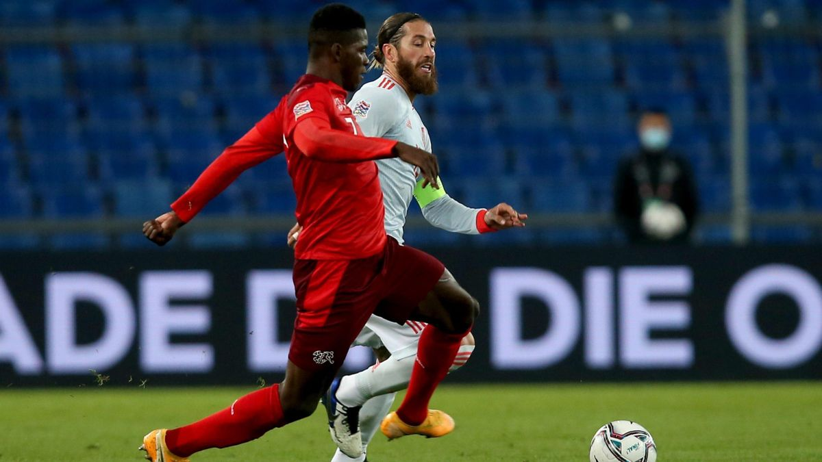 Brrel Embolo (Switzerland) and Sergio Ramos (Spain) / Nations League
