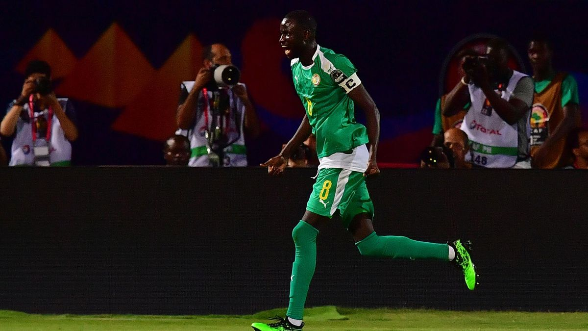 Senegal's defender Cheikhou Kouyate celebrates after his team scored a goal during the 2019 Africa Cup of Nations (CAN) Semi-final football match between Senegal and Tunisia at the 30 June stadium in Cairo on July 14, 2019