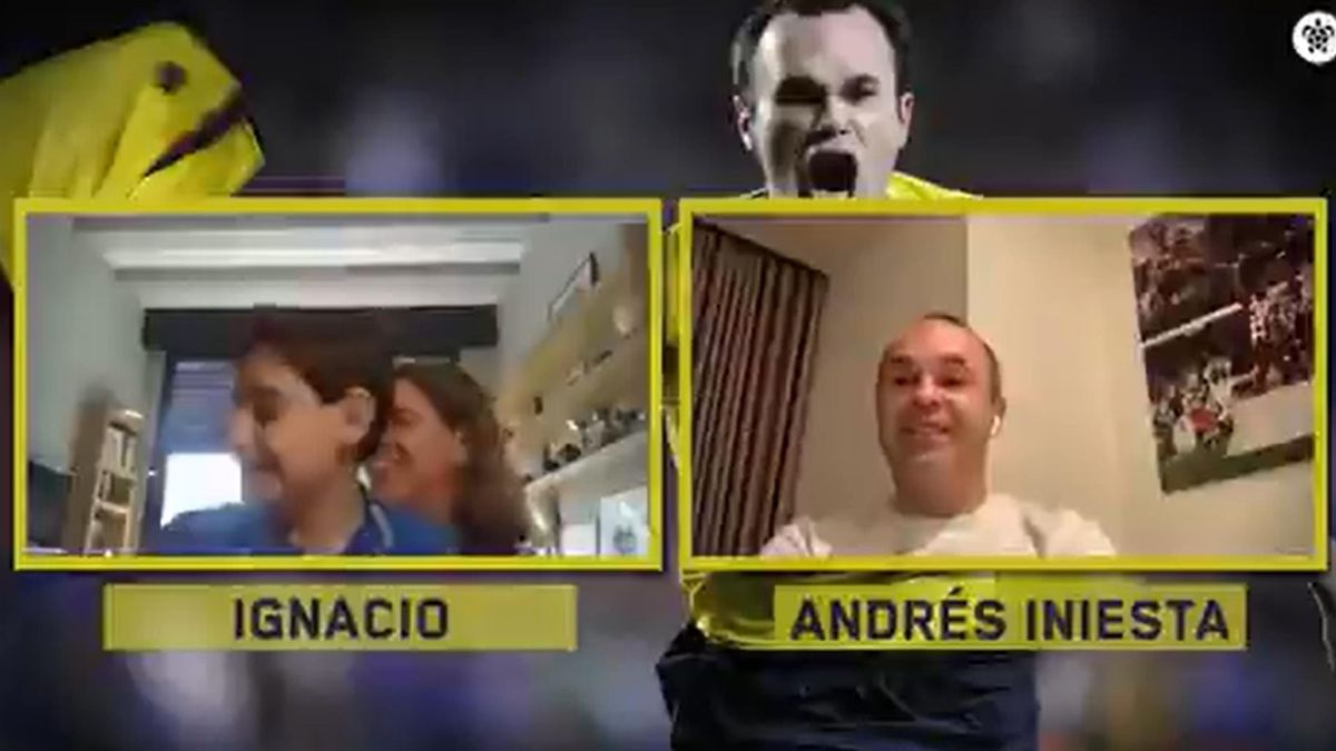 Iniesta talking to children born before his goal