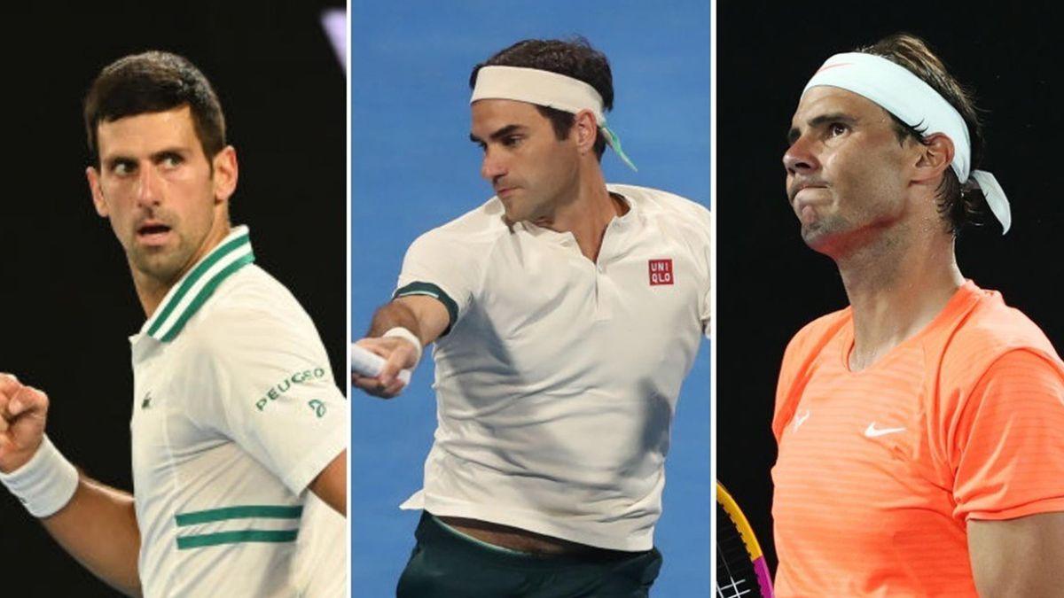 Novak Djokovic, Roger Federer og Rafael Nadal.