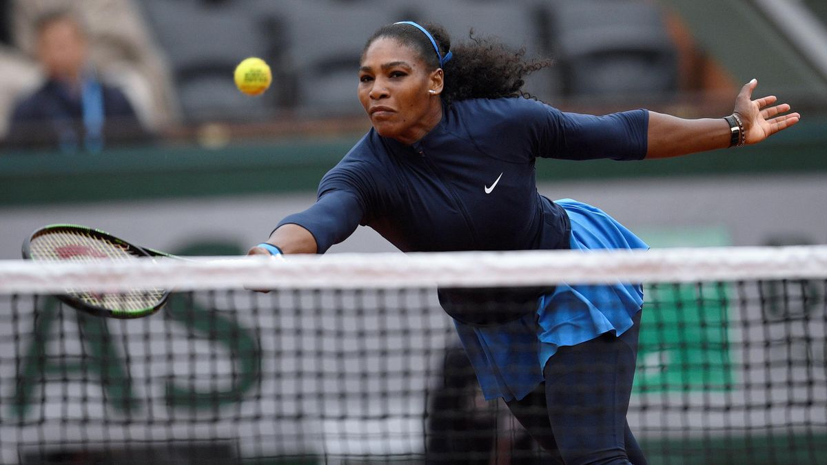 US player Serena Williams returns the ball to Kazakhstan's Yulia Putintseva during their women's quarter-final match at the Roland Garros 2016 French Tennis Open in Paris on June 2, 2016