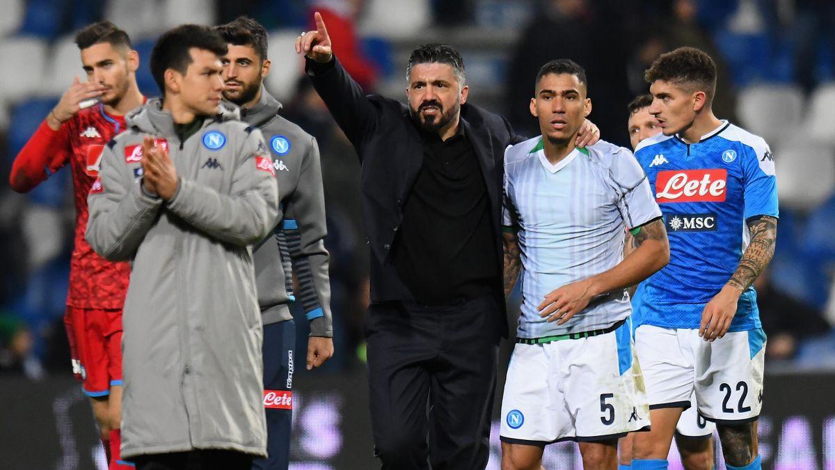Gattuso festeggia la vittoria del Napoli contro il Sassuolo