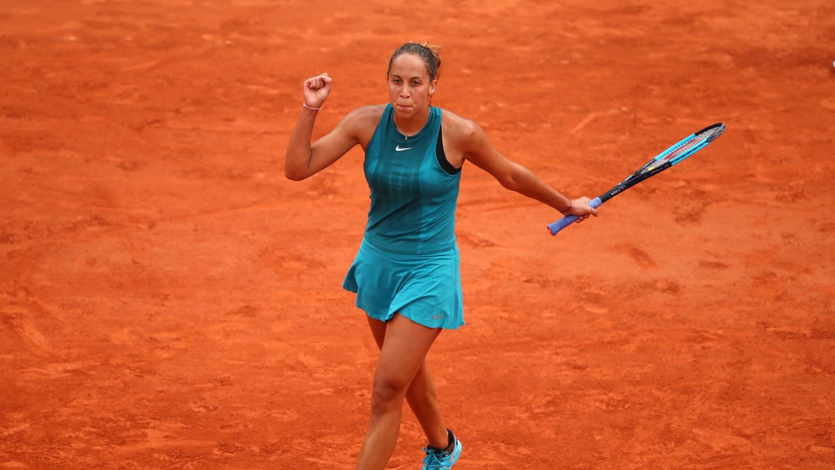 Madison Keys of The United States celebrates victory during the ladies singles second round match against Naomi Osaka of Japan during day six of the 2018 French Open at Roland Garros on June 1, 2018 in Paris, France.