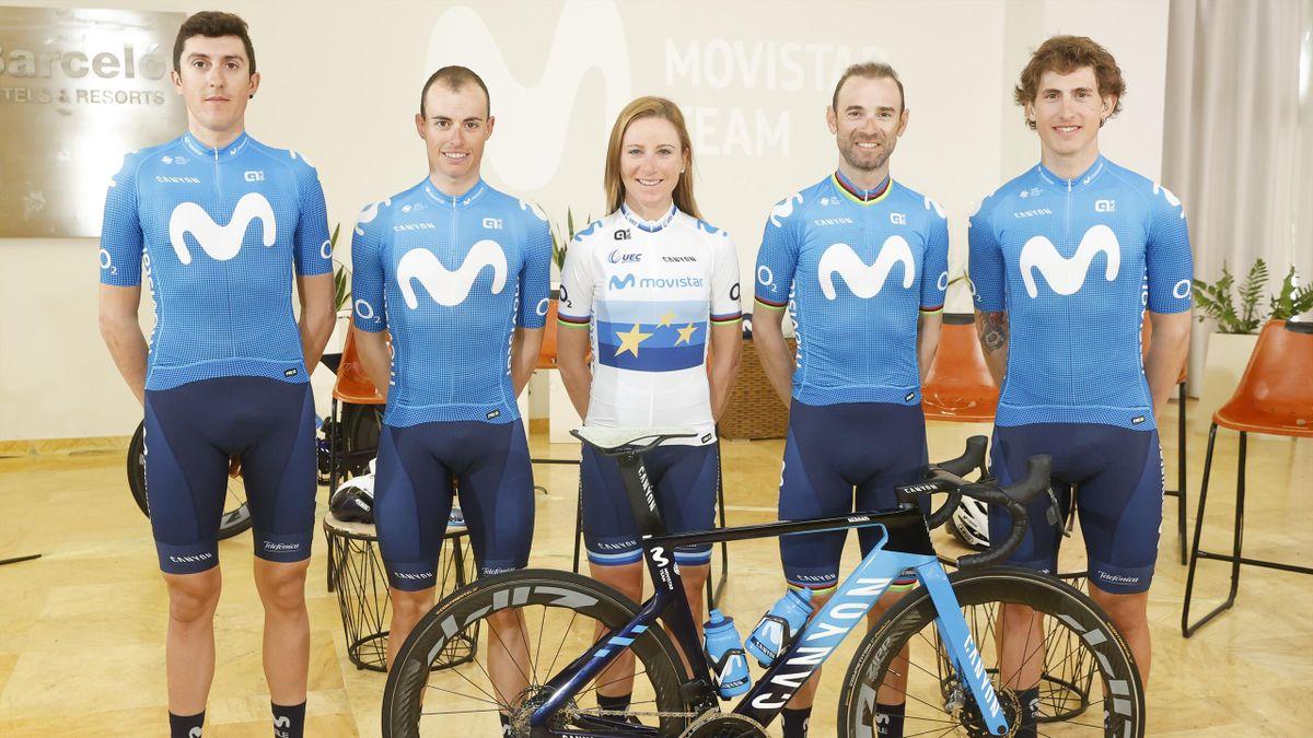 Plantilla del Movistar Team 2021: Soler, Mas, Van Vleuten, Valverde y Cortina (Photogómez Sport)